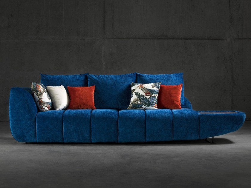 Fabric sofa with integrated magazine rack YUCCA by Aquinos Collection