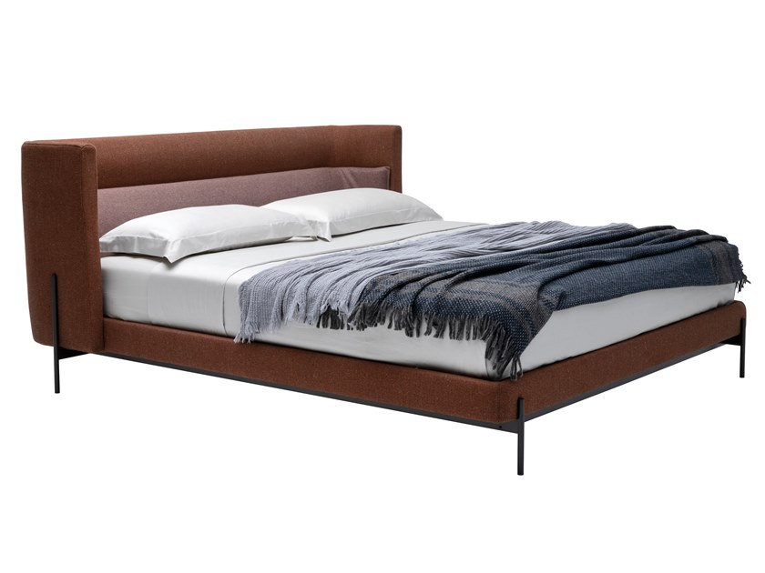 Fabric double bed with upholstered headboard YUME by Busnelli