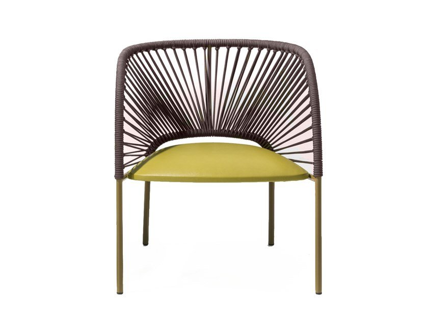 Easy chair with armrests and woven back YUMI | Easy chair by Moroso