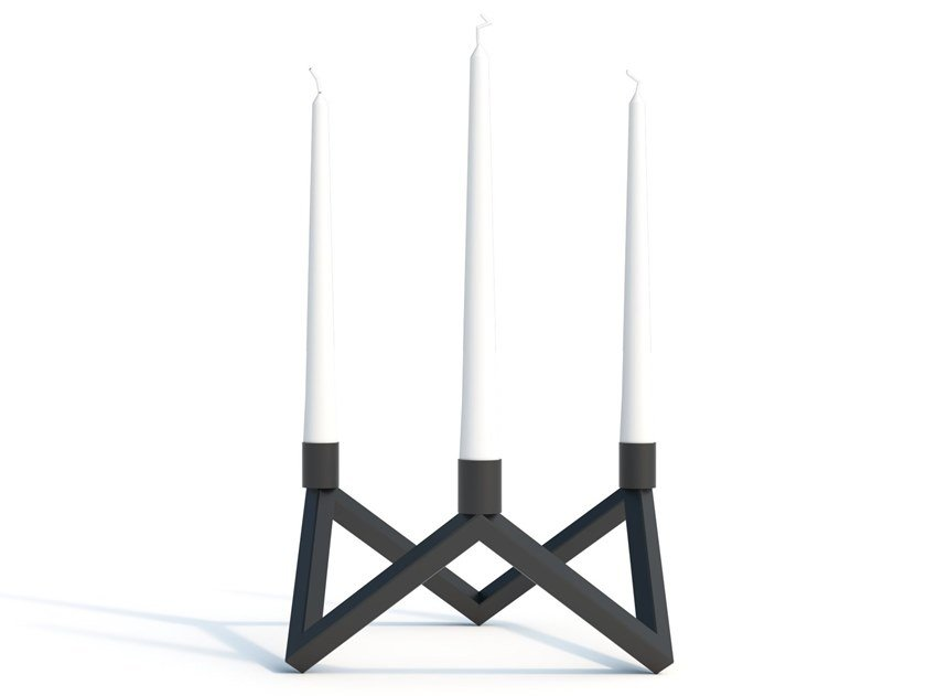 Powder coated steel candlestick Z | Candlestick by Arpe studio