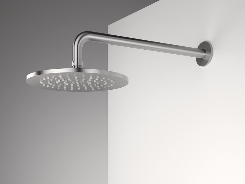 Wall-mounted stainless steel overhead shower with arm Z316   Wall-mounted overhead shower by ZAZZERI