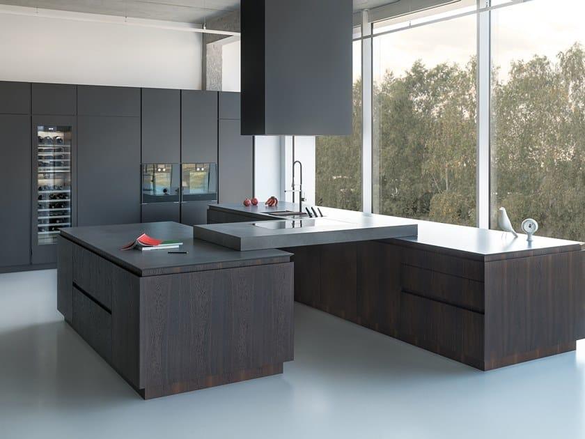 Wood veneer kitchen with island Z4 by Zajc