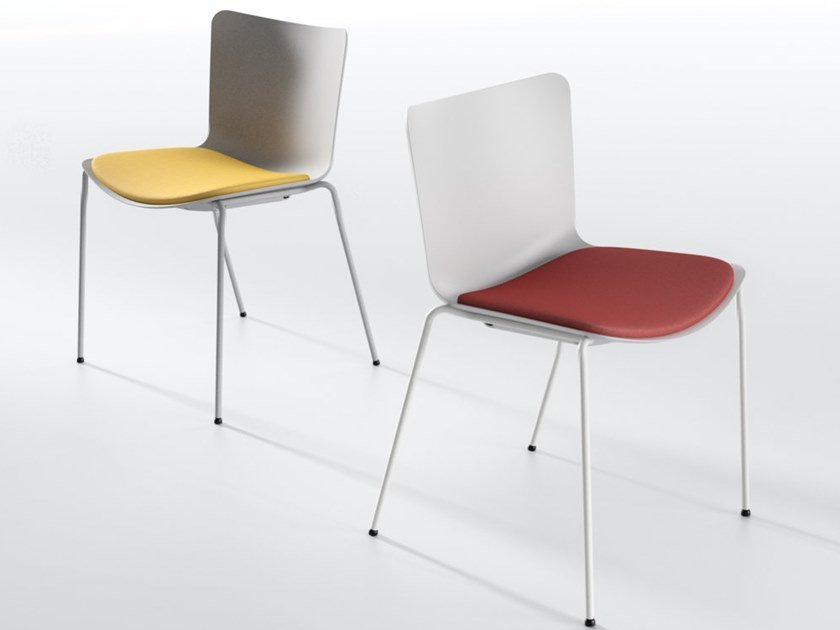 Stackable polypropylene chair with integrated cushion ZAZA PT by IBEBI