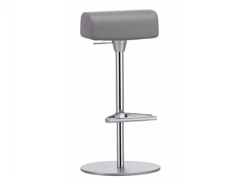 Height-adjustable leather stool with footrest ZEB STOOL GYM by Vitra