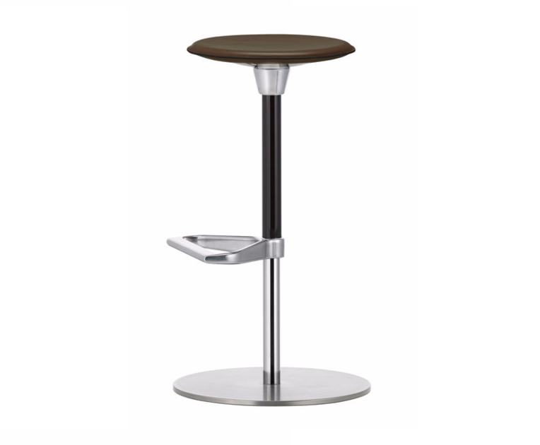 Swivel height-adjustable leather stool ZEB STOOL LEATHER by Vitra