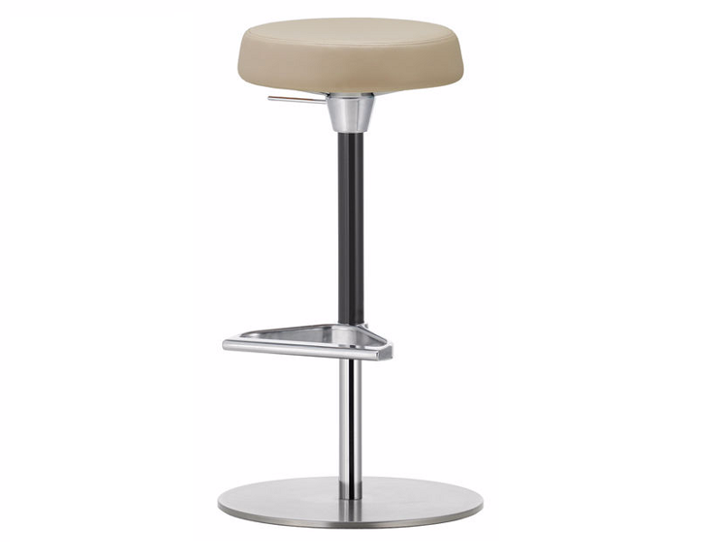 Upholstered height-adjustable stool with footrest ZEB STOOL SOFT by Vitra