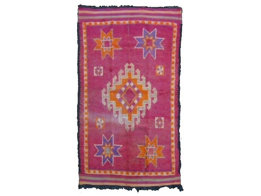 Patterned long pile rectangular wool rug ZEMMOR TA171BE by AFOLKI