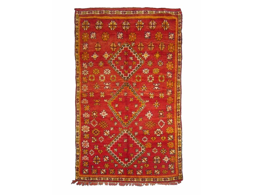 Patterned long pile rectangular wool rug ZEMMOR TA653BE by AFOLKI