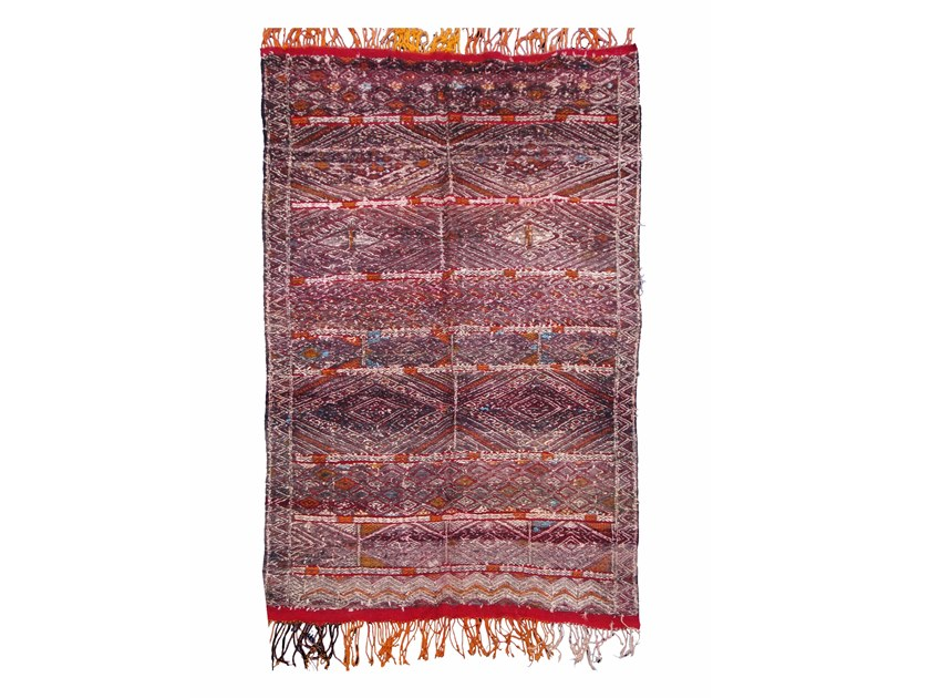 Patterned long pile rectangular wool rug ZEMMOR TAA30BE by AFOLKI