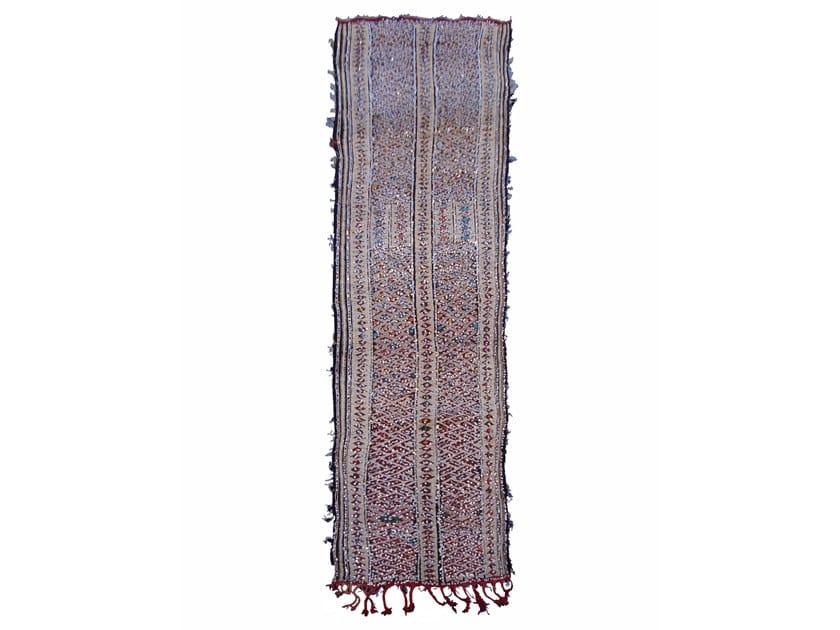 Patterned long pile rectangular wool rug ZEMMOR TAA37BE by AFOLKI
