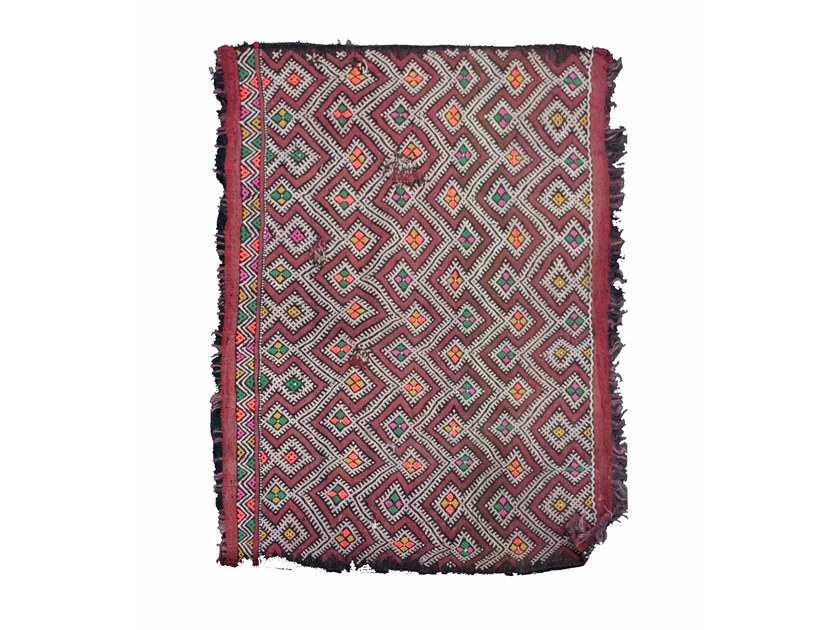 Long pile wool rug with geometric shapes ZEMMOR TAA391BE by AFOLKI