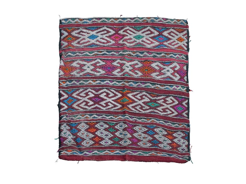 Long pile wool rug with geometric shapes ZEMMOR TAA398BE by AFOLKI