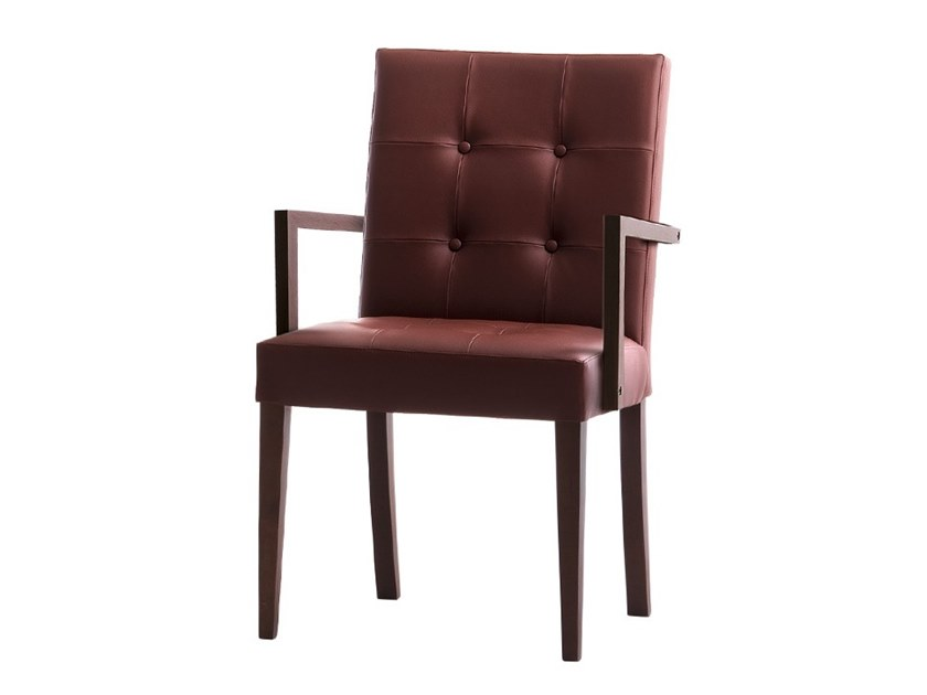 Tufted upholstered chair with armrests ZENITH 01629 by Montbel