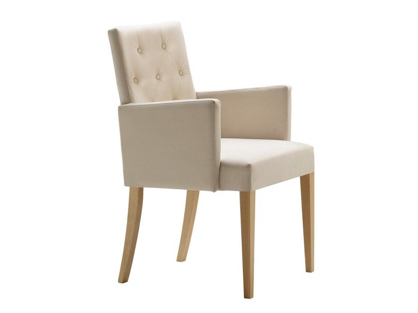 Tufted upholstered chair with armrests ZENITH 01638 by Montbel