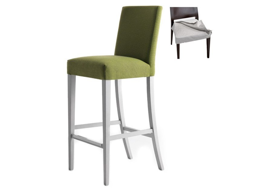 High upholstered stool with removable cover ZENITH 01686 by Montbel