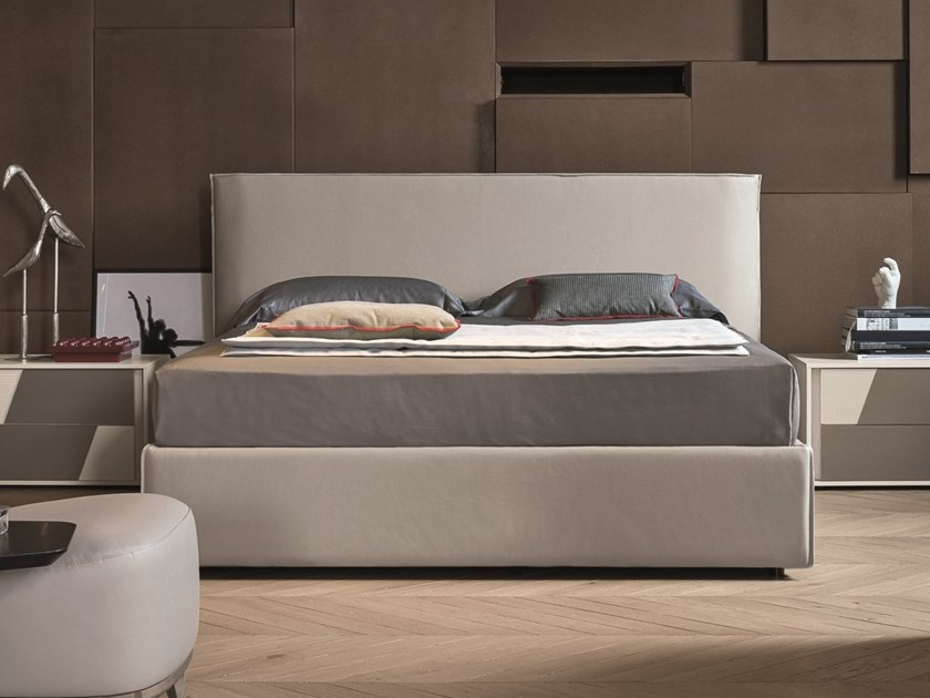 Upholstered leather double bed ZENO by Gruppo Tomasella