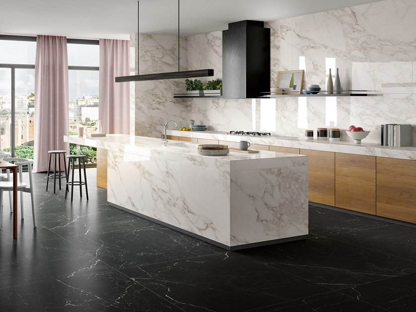 Laminated stoneware wall/floor tiles with marble effect ZERO.3 ETERNITY by Panaria Ceramica