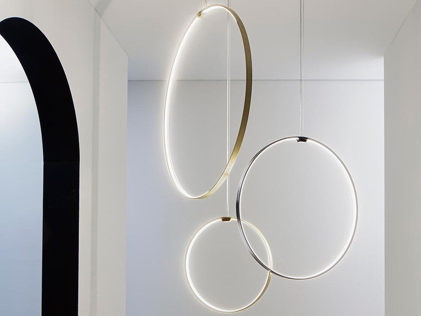 LED extruded aluminium pendant lamp ZERO ROUND VERTICAL by PANZERI