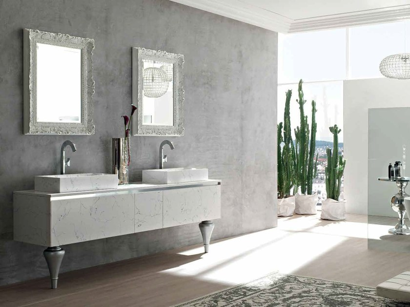Double cultured marble console sink ZERO4 MARBLE - COMPOSITION 13 by Arcom