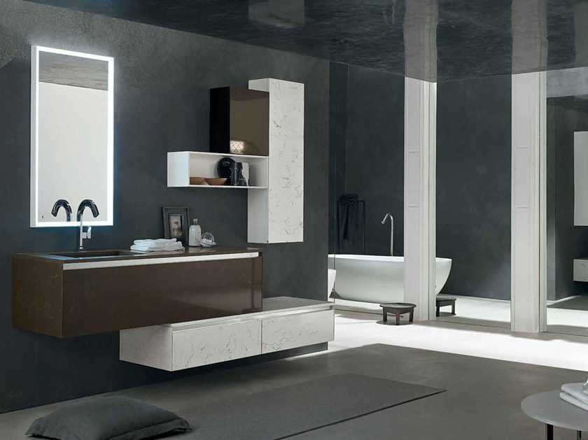 Cultured marble bathroom cabinet / vanity unit ZERO4 MARBLE - COMPOSITION 15 by Arcom