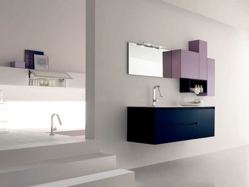 Sandblasted glass bathroom cabinet / vanity unit ZERO4 GLASS - COMPOSITION 4 by Arcom