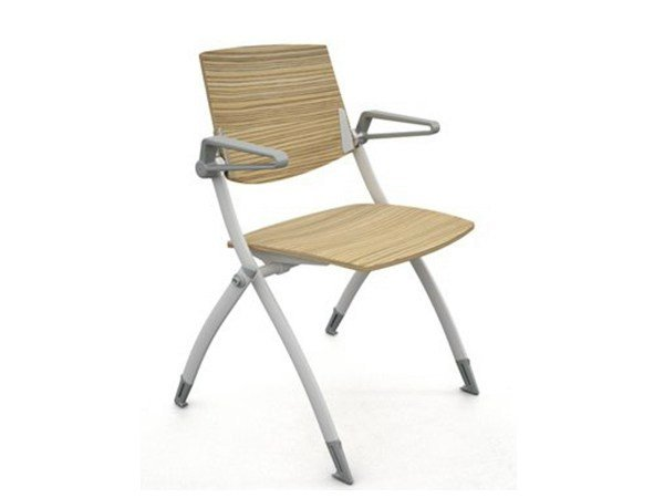 Stackable wooden training chair with armrests ZERO9 | Wooden training chair by Ares Line