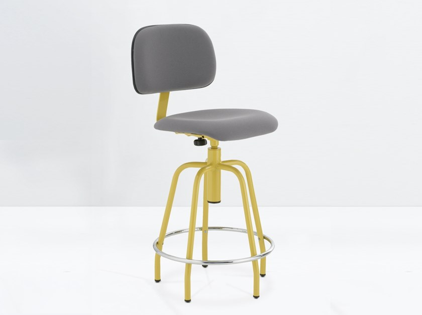 Height-adjustable fabric stool with footrest ZEUS 2.000-50 C/R by delaoliva