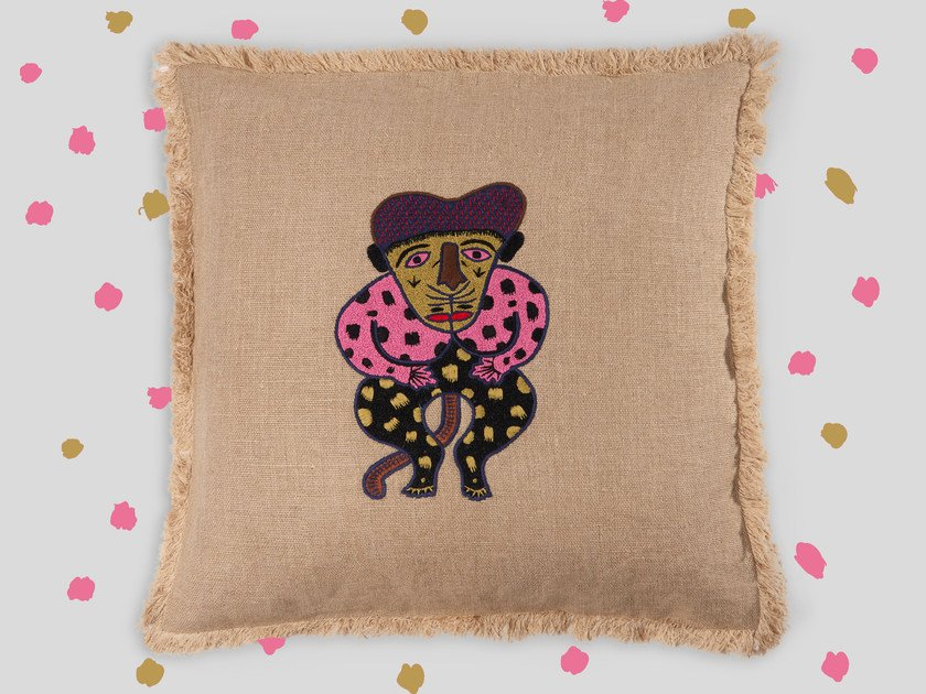 Hand embroidered cushion ZION by Jupe by Jackie