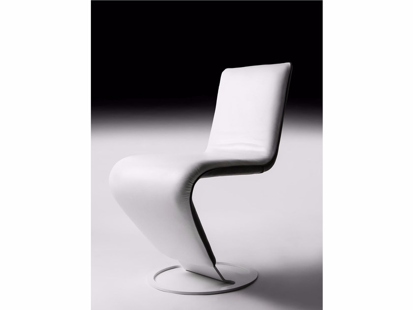 Cantilever upholstered leather chair ZIG-ZAG by Esedra