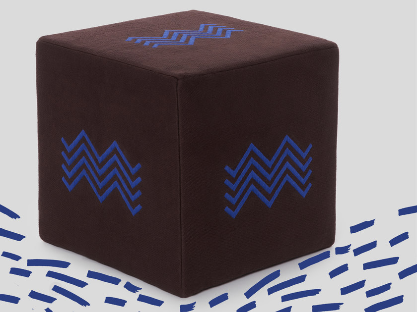 Hand embroidered poufs cover ZIG ZAG by Jupe by Jackie
