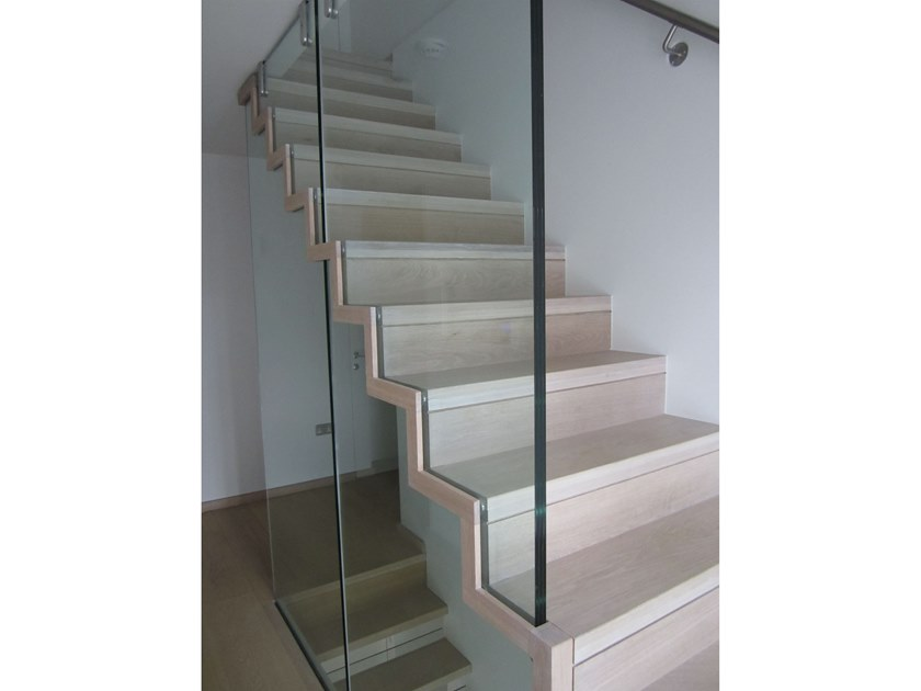 Straight wooden Open staircase ZIG-ZAG SLIM by Siller Treppen