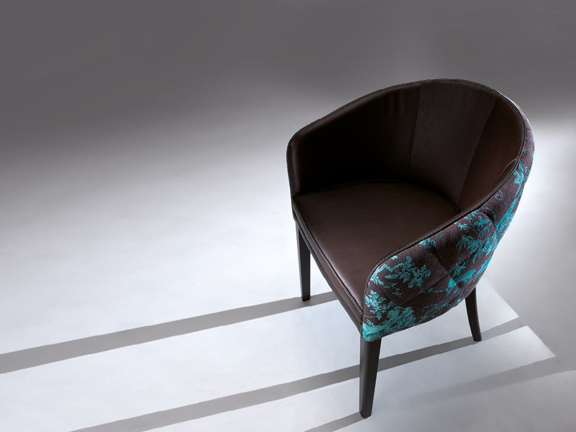 Upholstered fabric and leather chair ZOE   Chair by Borzalino
