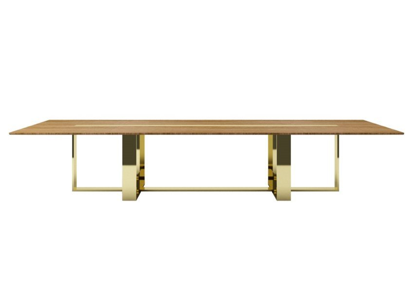 Rectangular steel and wood living room table ZULU | Steel and wood table by ZALABA Design
