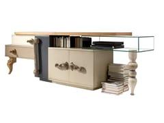 Madia in legno e cristallo con ante a battente e cassettiLONDON | Madia in legno - LOLA GLAMOUR