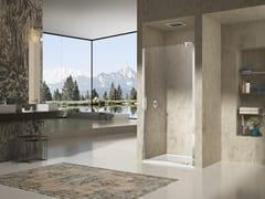 Box doccia a nicchia con porta pivotante NATURA 4000 - A-DTN L/R - Quadra – con profili verticali e orizzontali