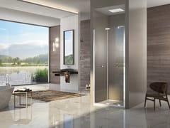 Box doccia a nicchia con porta a soffietto NATURA 4000 - A-FPN L/R - Quadra – con profili verticali e orizzontali