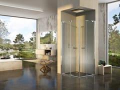 Box doccia angolare con porta a soffietto NATURA 4000 - A-EFP L/R - Quadra – con profili verticali e orizzontali