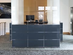 Banco reception modulare con barriera parafiato USM HALLER ANTHRACITE - USM MODULAR FURNITURE