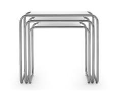 Tavolino a slitta in acciaio inox e legno per contract119 - E | Tavolino - ADICO