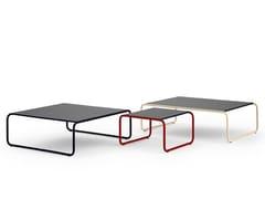 Tavolino a slitta basso in acciaio inox e legno per contract120 | Tavolino - ADICO