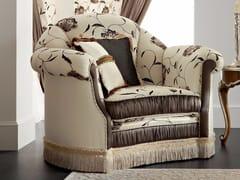 Poltrona imbottita in tessuto in stile barocco con braccioli 13404 | Poltrona - Bella Vita