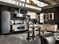 Cucina componibile in acciaio inox e legno1956 - COMPOSIZIONE 01 - MARCHI CUCINE