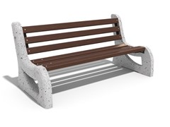 Panchina in calcestruzzo e legno con schienale2 | Panchina in calcestruzzo - ENCHO ENCHEV - ETE
