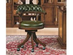 Sedia girevole in legno e pelle con ruote a 5 razze35TH ANNIVERSARY SE 0153/P - SCAPPINI & C. CLASSIC FURNITURE
