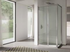 DISENIA, 4.0 - QTSF+QTFI Box doccia angolare in vetro con porta a soffietto