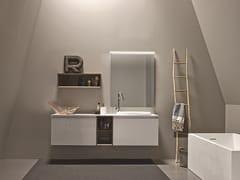 Mobile lavabo sospeso in legno impiallacciato con specchio 45 COMP.3 - 45