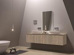 Mobile lavabo sospeso in legno impiallacciato con specchio 45 COMP. 4 - 45