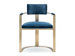 Sedia in velluto con braccioli e base in metallo satinatoSVEVA 6043D - ARCAHORN