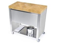 Modulo cucina freestanding in acciaio inox e legno con cassetti669501 | Modulo cucina freestanding - JOKODOMUS