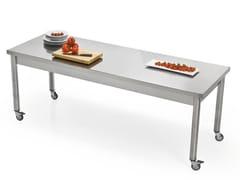 Tavolo rettangolare in acciaio inox con ruoteAUXILIUM 696113 | Tavolo con ruote - JOKODOMUS